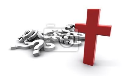Tapeta Fragezeichen und Kreuz rot