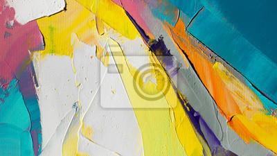 Tapeta Fragment. Wielokolorowe malowanie tekstur. Streszczenie sztuka tło. olej na płótnie. Szorstkie pociągnięcia pędzlem farby. Zbliżenie obraz olejny i szpachlą. Teksturowane detale o wysokiej jakości.