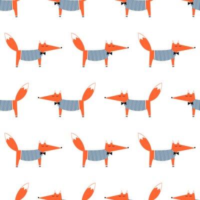 Tapeta Francuski styl fox szwu. Cute cartoon ilustracji Foxy wektorowych. Dzieci rysunek styl tła zwierząt. projektowanie mody do tkanin, wyrobów włókienniczych.