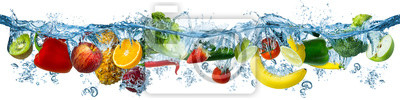 Tapeta fresh multi fruits and vegetables splashing into blue clear water splash healthy food diet freshness concept isolated white background