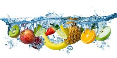 Tapeta fresh multi fruits splashing into blue clear water splash healthy food diet freshness concept isolated white background