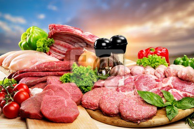 Tapeta Fresh Raw Meat Background with vegetables