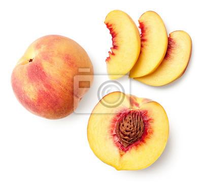 Fresh ripe whole, half and sliced peach