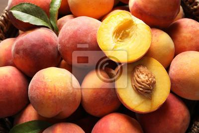 Tapeta Fresh sweet ripe peaches as background