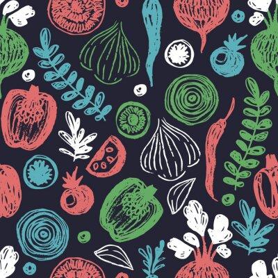 Tapeta Fresh vegetables seamless pattern. Sketchy fun healthy eating background.