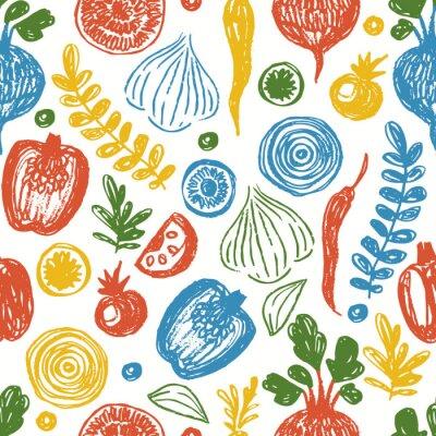 Tapeta Fresh vegetables seamless pattern. Sketchy fun healthy eating background.  Vector illustration