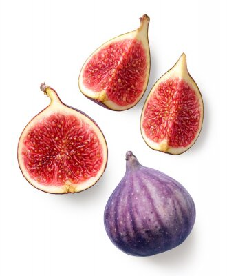 Fresh whole and sliced fig on white background