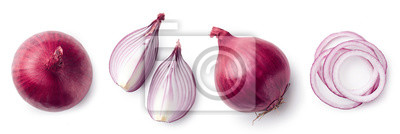 Fresh whole and sliced red onion