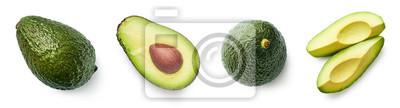 Fresh whole, half and sliced avocado
