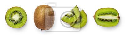 Fresh whole, half and sliced kiwi fruit
