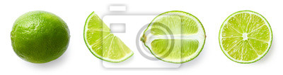 Fresh whole, half and sliced lime fruit