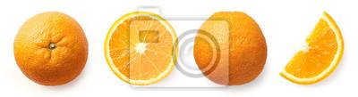 Fresh whole, half and sliced orange
