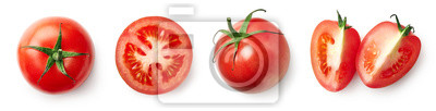 Tapeta Fresh whole, half and sliced red tomato