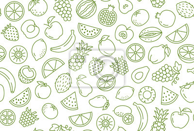 Tapeta Fruit and berry background, abstract food seamless pattern. Fresh fruits wallpaper with apple, banana, strawberry, watermelon, line icons. Vegetarian grocery vector illustration, green white color