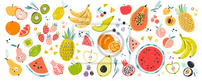 Tapeta Fruit collection in flat hand drawn style, illustrations set. Tropical fruit and graphic design elements. Ingredients color cliparts. Sketch style smoothie or juice ingredients.