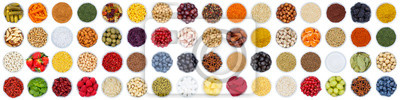 Tapeta Fruits and vegetables berries spices herbs grapes banner sugar from above isolated on white