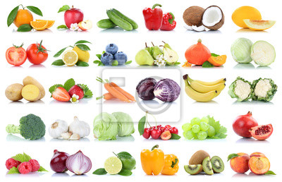 Tapeta Fruits and vegetables collection isolated apple oranges peach tomatoes berries fruit