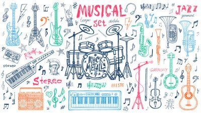 Tapeta Funny cool sketch set, theme music party, doodle style lettering, musical notes, instruments slogan graphic art for t shirt design print posters. Hand drawn vector illustration.