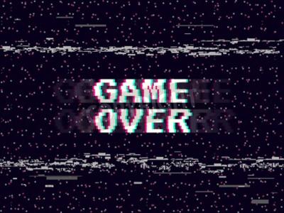 Tapeta Game over glitch background. Retro game backdrop. Glitched lines noise. VHS effect for your design. Pixel inscription. Modern vector illustration