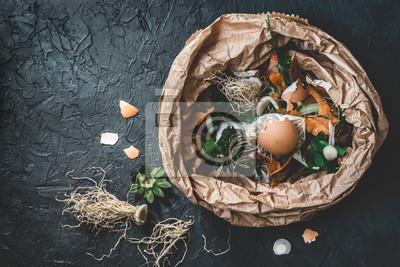 Tapeta Garbage sorting. Organic food waste from vegetable ready for recycling and to compost on the dark backgrond. Environmentally responsible behavior, ecology concept. Flat lay