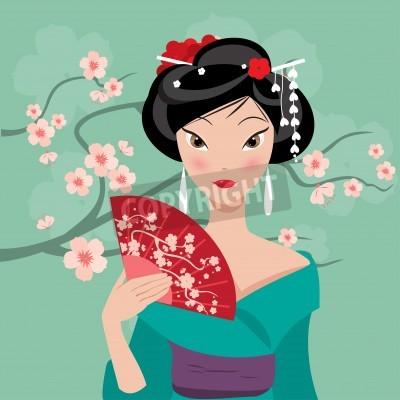 Tapeta Geisha z wentylatorem na tle kwiatów wi? Ni