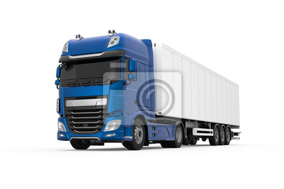 Tapeta Generic truck with semi trailer photo realistic isolated 3D Illustration - front left low angle view.