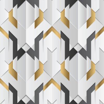 Tapeta Geometric decor stripes white and golden element