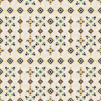 Tapeta Geometryczny styl haftu. Etniczny bezszwowy wzór. Streszczenie aztec tle. Papier cyfrowy lub papier pakowy. Dobry do projektowania stron internetowych, drukowania i tekstyliów. Wektor ornament Boho.