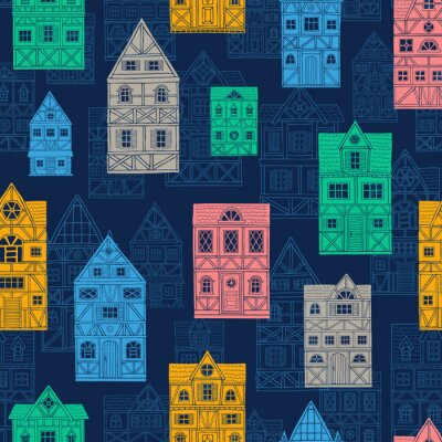 Tapeta German houses cartoon seamless pattern urban landscape background. Front view of European city street colorful building facades silhouette. Hand drawn vector illustration sketch style.