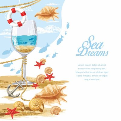 Glass of sea water, lifebuoy, an anchor, shells, sand and fish on the blue sky background with clouds, hand-drawn.