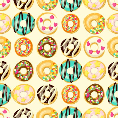 Tapeta Glazed Donuts seamless pattern. Bakery Vector illustration. Top View doughnuts