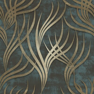 Tapeta Gold curved lines pattern and old blue background