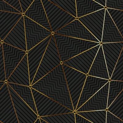 Tapeta Gold triangle grid. Seamless pattern.