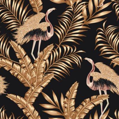 Tapeta Golden bird flamingo gpld leaves seamless black background