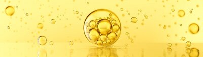 Tapeta golden yellow Bubbles oil or collagen serum for cosmetic product