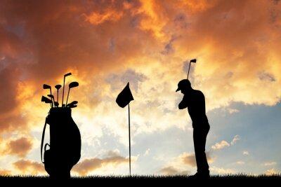 Tapeta golfa na zachodzie słońca
