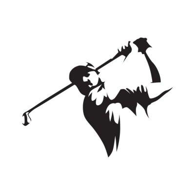 Tapeta Golfer abstrakcyjna sylweta, widok z przodu. Logo golfa