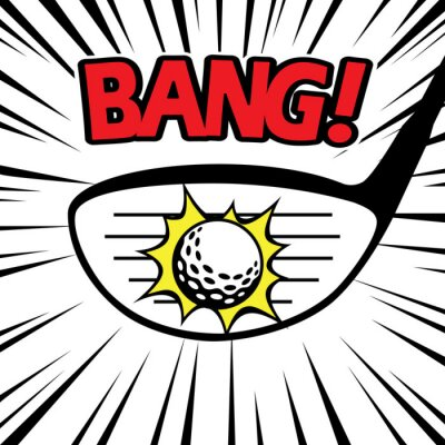 Tapeta Golfer huśtawka kierowcy klubu uderzając piłeczka golfowa BANG
