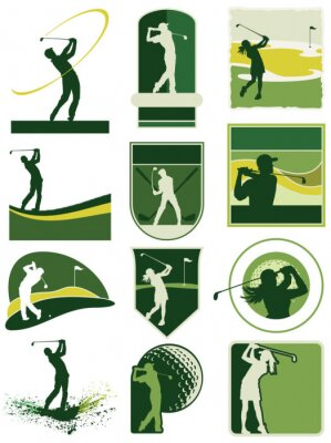 Tapeta Golfing labels vector collection