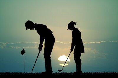 Tapeta Golfista sylwetka o zachodzie słońca