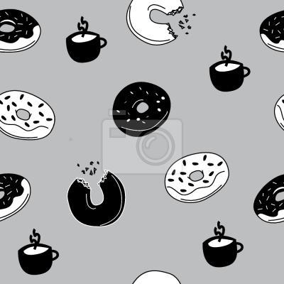 Tapeta Gorące Donuty i Kawa