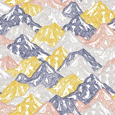 Tapeta Góry bez szwu deseń. Zabawne tapety dzieciak góry. Ilustracji wektorowych