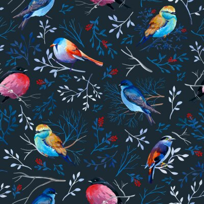 Tapeta Gouahe seamless pattern with bright birds on branches with leaves on dark background