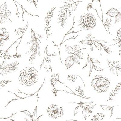 Tapeta Graficzny kwiatowy wzór - kwiaty i liście pojedyncze elementy na białym tle. Do ślubu stacjonarnego, pozdrowienia, tapet, mody, logo, papieru do pakowania, mody, tekstyliów itp.