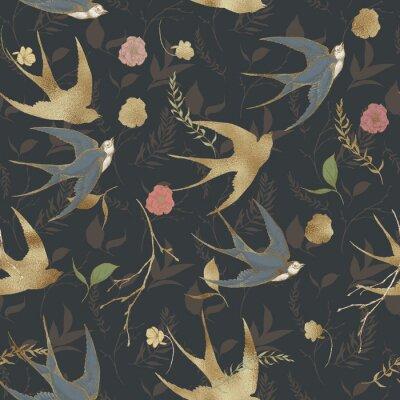 Tapeta Graficzny kwiatowy wzór - złoto teksturowane jaskółki ptaków i elementy kwiatowe na ciemnym tle. Na wesele stacjonarne, pozdrowienia, tapety, moda, logo, papier pakowy, moda, tekstylia.