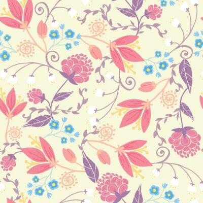 Grafika świeże kwiaty pól i elegancki szwu liście