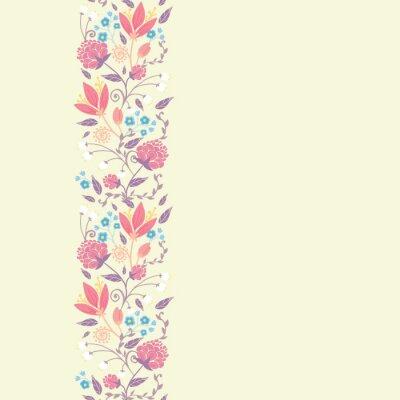 Grafika świeże liście i kwiaty dziedzinie elegancki pionowe bez szwu