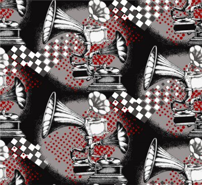 Tapeta Gramophone. Seamless pattern. Suitable for fabric, wrapping paper, oilcloth and other home and designer products