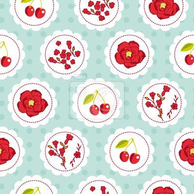 Tapeta Grannys Cherry Garden Niebieski
