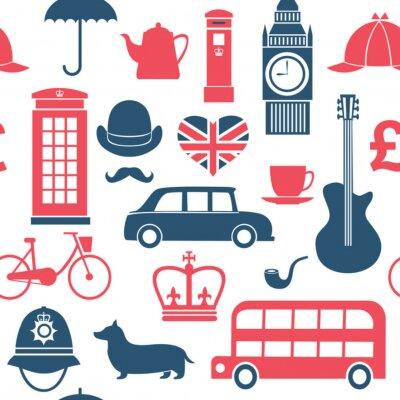 Tapeta Graphic zestaw wielkich symboli Brytanię szwu